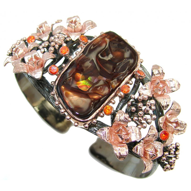 Bohemian Style Large & Beautiful AAA Fire Agate Rose Gold Rhodium plated Sterling Silver Bracelet / Cuff