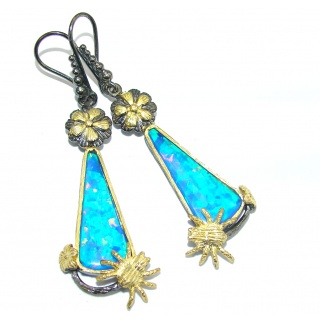 Ocean Touch Blue Fire Opal Gold plated over Sterling Silver earrings