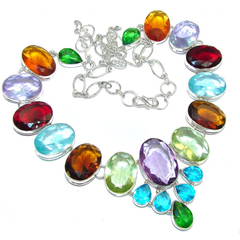 Fiesta Hues multicolor Quartz Handcrafted Sterling Silver Necklace