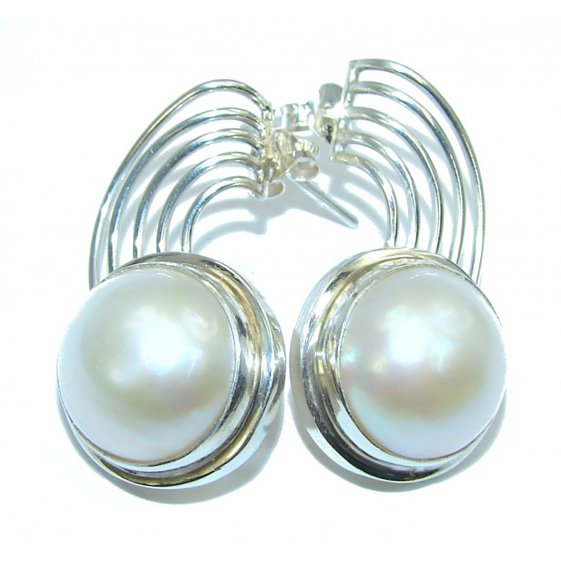 Unusual White Pearl Sterling Silver earrings