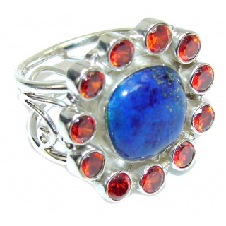 Excellent Blue Lapis Lazuli & Garnet Quartz Sterling Silver Ring s. 7 1/2