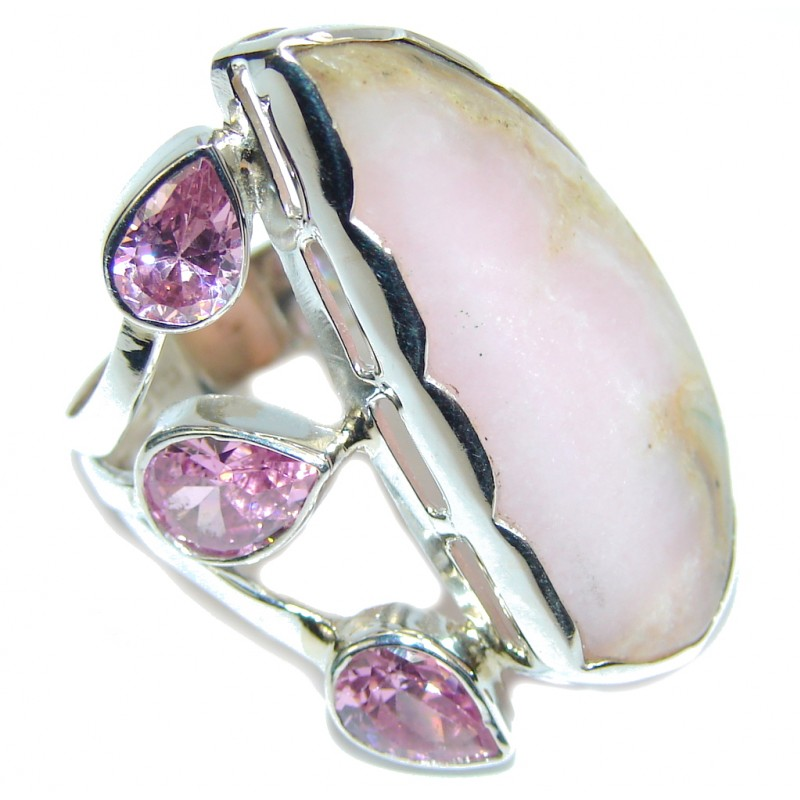 Delicate Beauty AAA Pink Opal Sterling Silver ring s. 8