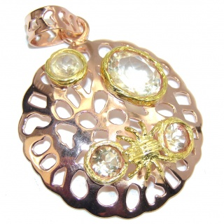 Genuine AAA Yellow Citrine, Rose & Gold Plated Sterling Silver Pendant
