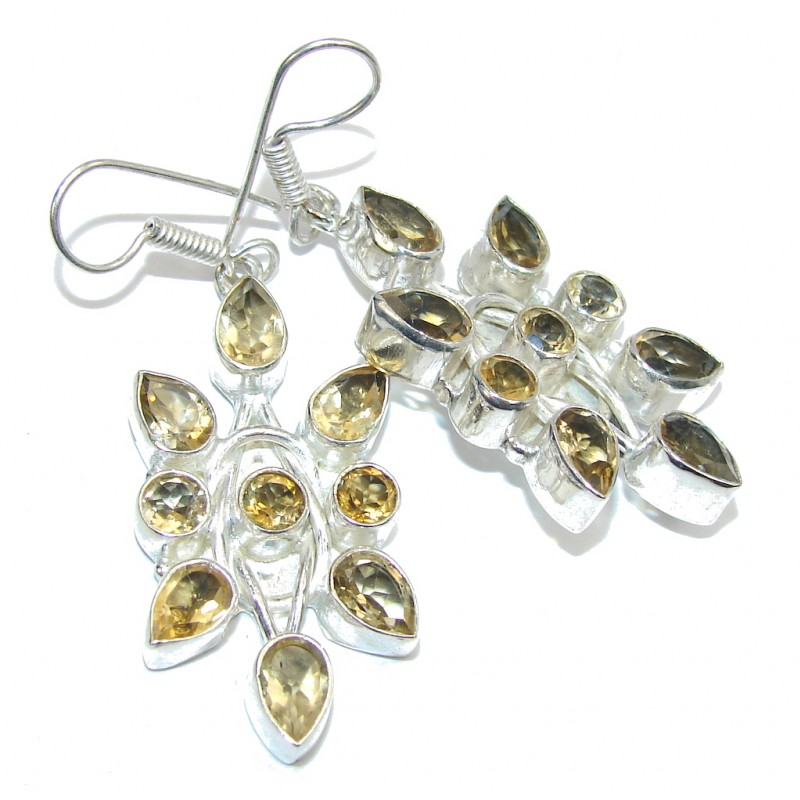 Bali Secret Yellow Citrine Quartz Silver Overlay earrings