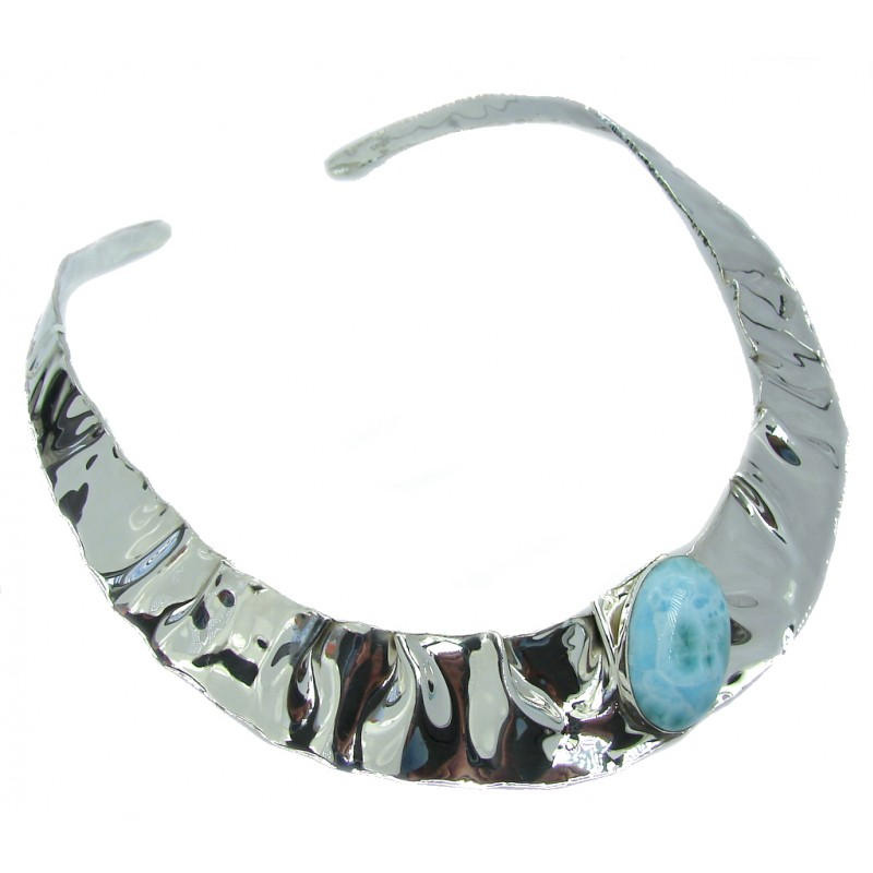 Love Attraction! AAA Blue Larimar Sterling Silver necklace / Cuff
