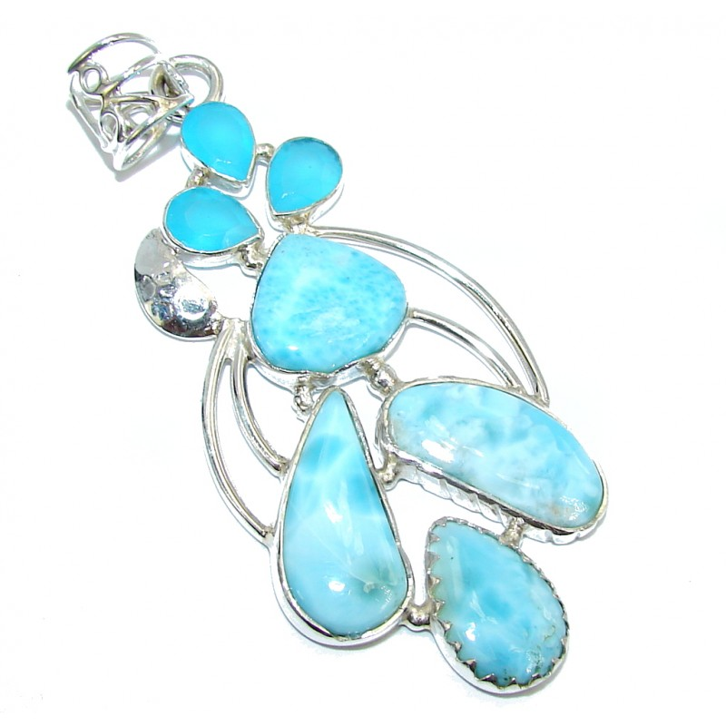 Exotic Beauty AAA Blue Larimar & Aquamarine Sterling Silver Pendant