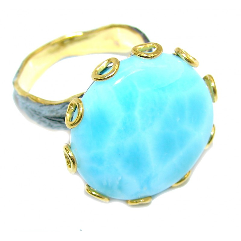 AAA Blue Larimar, Gold Plated, Rhodium Plated Sterling Silver Ring s. 79 1/4