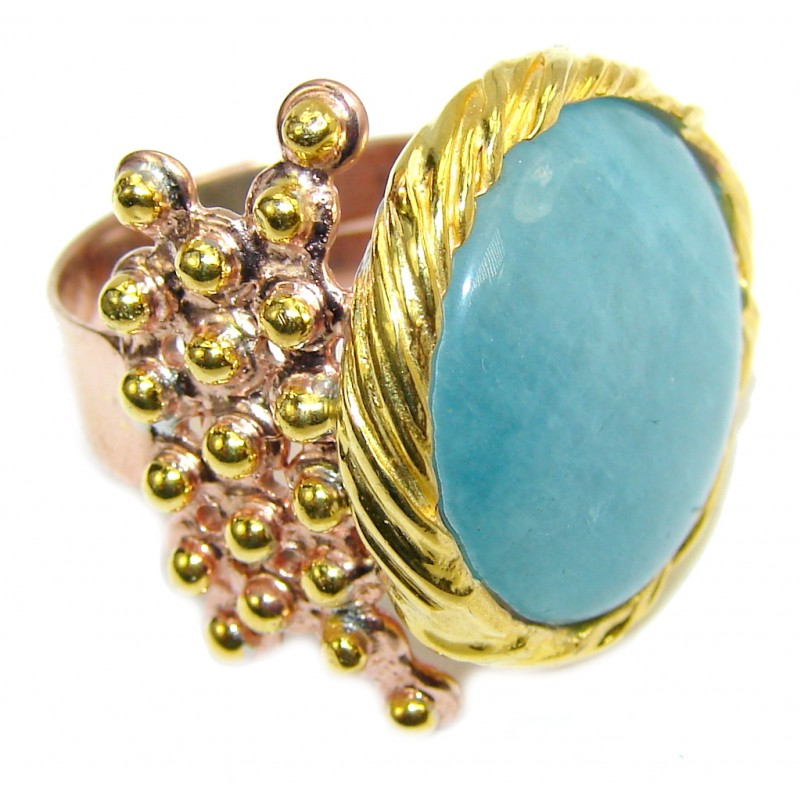 Passiom Fruit AAA Aquamarine Gold Plated, Rhodium Plated Sterling Silver Ring s. 6 3/4