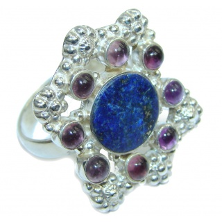 Blue Lapis Lazuli & Amethyst Sterling Silver Ring s. 10 1/2