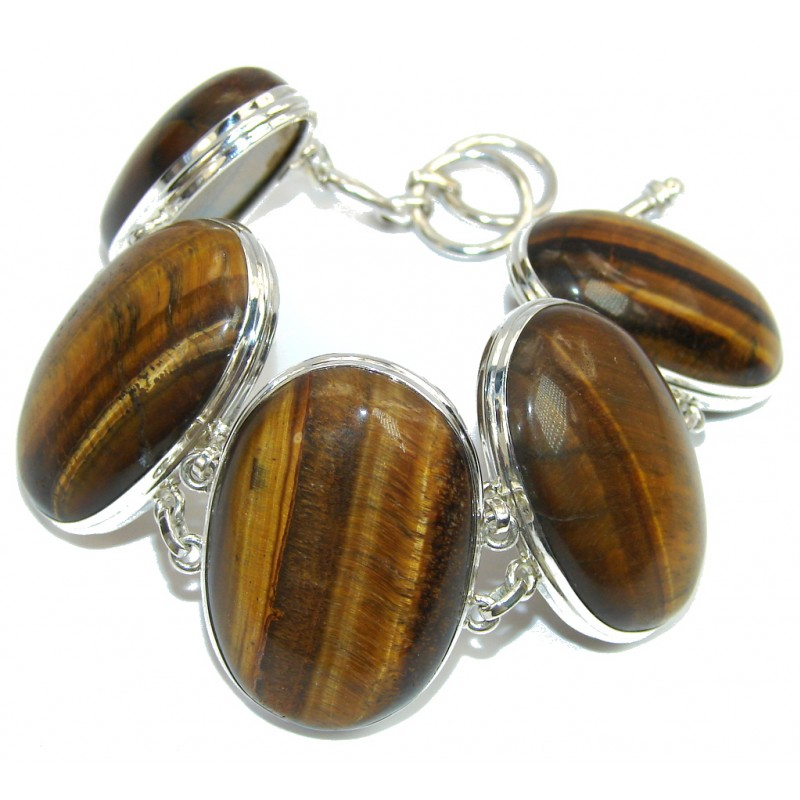 Secret Brown Tigers Eye Sterling Silver Bracelet