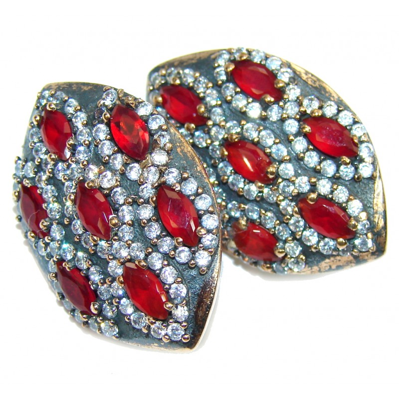 Victorian Style Red Garnet & White Topaz Sterling Silver earrings
