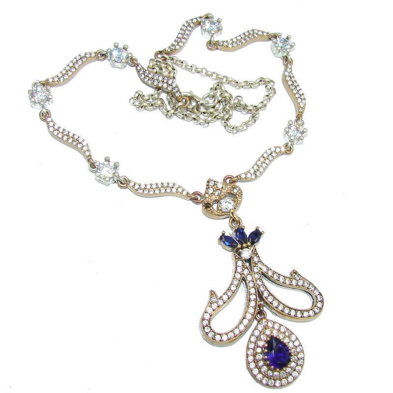 Victorian Style! Created Blue Sapphire & White Topaz Sterling Silver necklace