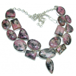 Huge! Pale Beauty Pink Rasberry Rhodonite Sterling Silver necklace