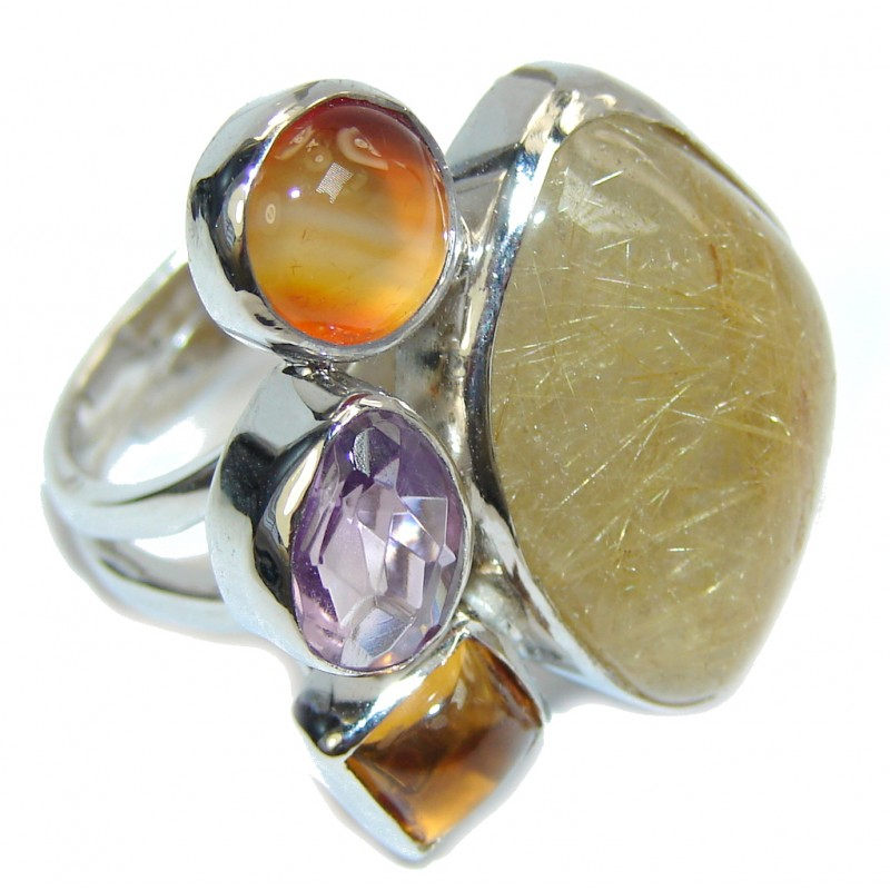 Big! Pale Beauty Golden Rutilated Quartz Sterling Silver ring s. 8- adjustable