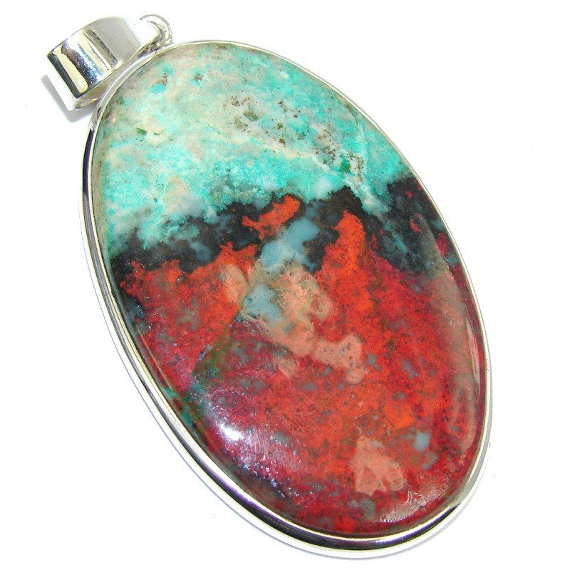 Natural AAA Red Sonora Jasper Sterling Silver Pendant