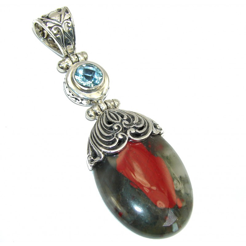 Handcrafted Bali Made Moss Agate & Blue Topaz Sterling Silver Pendant