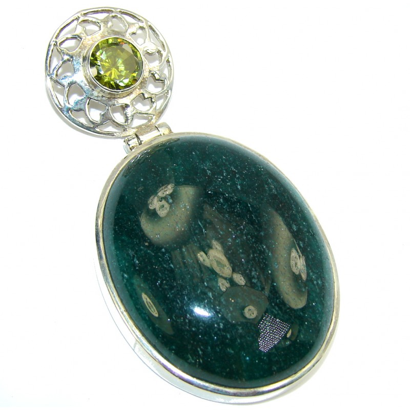 Big! Excellent Green Aventurine Sterling Silver Pendant