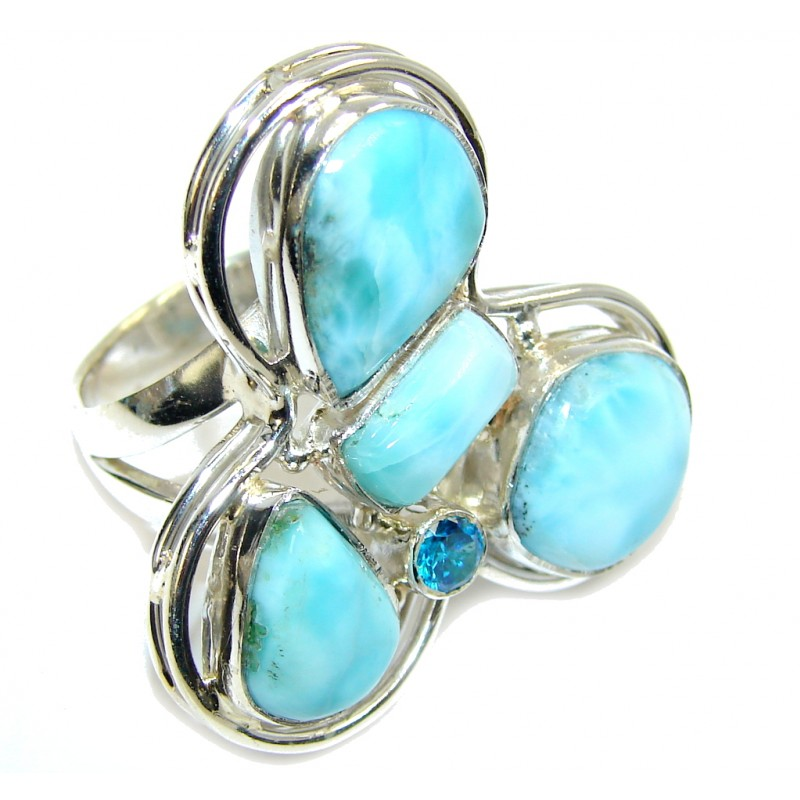 Pacific Ocean Blue Larimar & London Blue Topaz Sterling Silver Ring s. 8 1/2