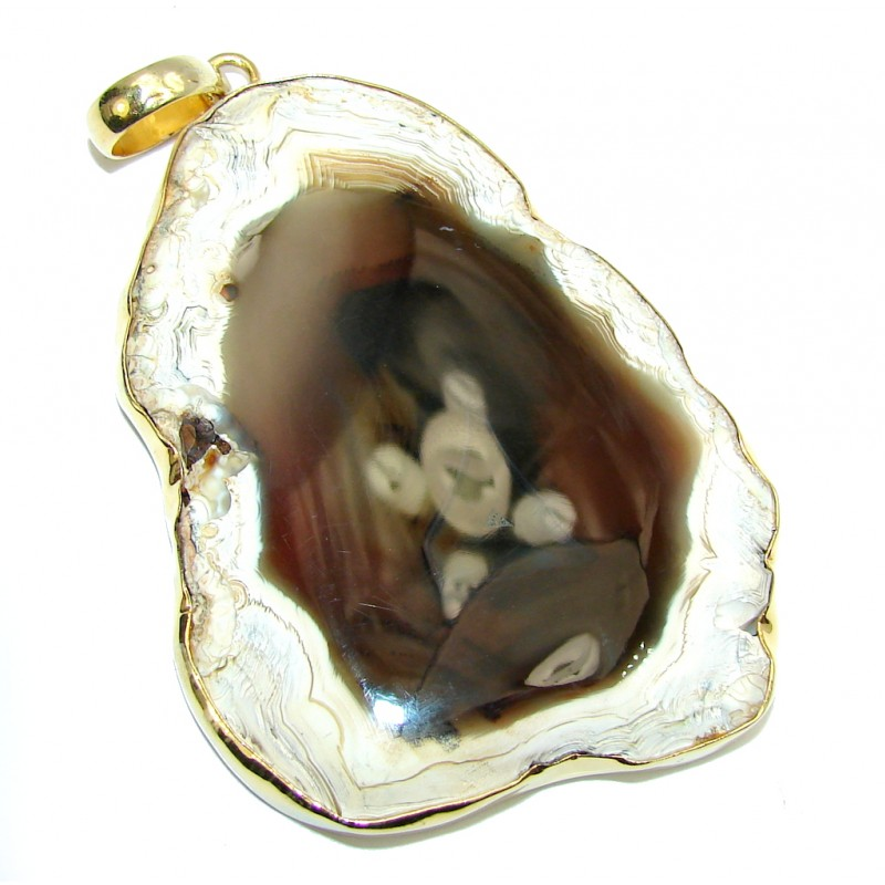 Huge! Gallery Piece AAA Agate, Gold Plated Sterling Silver Pendant