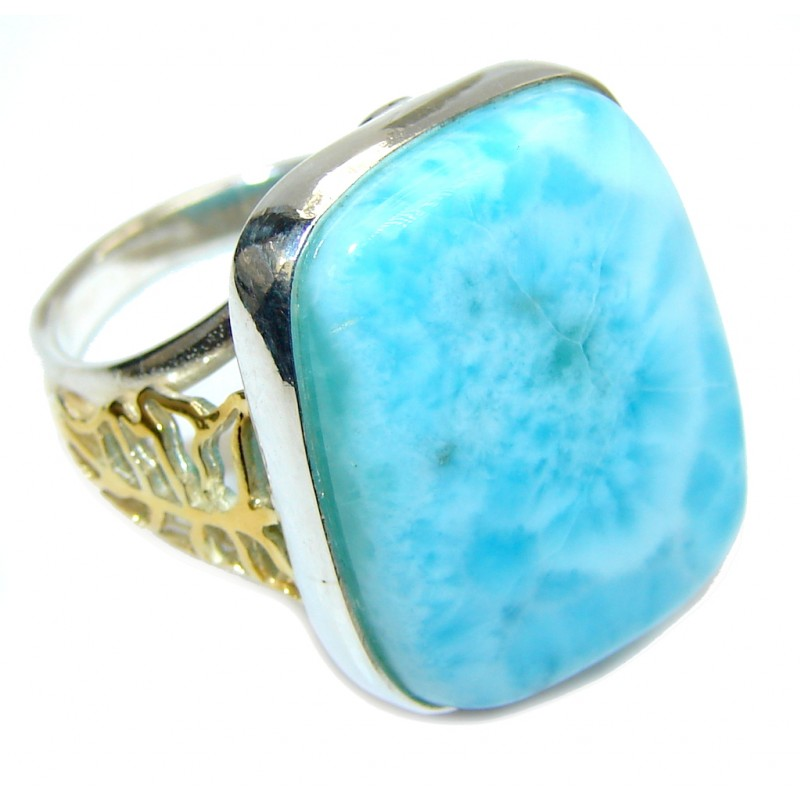 Stunning AAA Blue Larimar, Two Tones Sterling Silver Ring s. 8 1/4