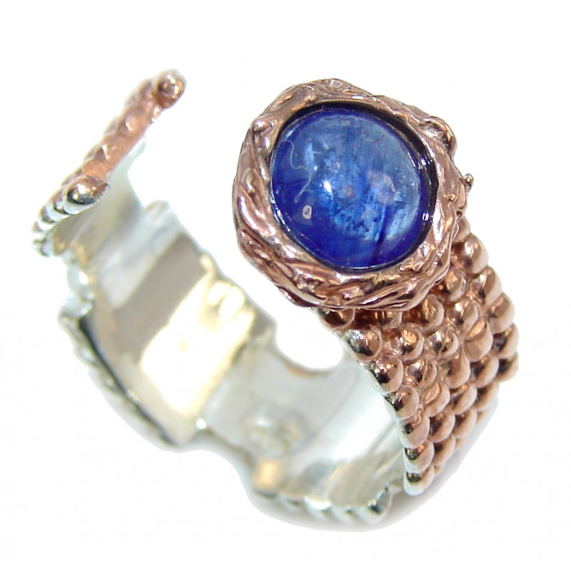 Genuine AAA Tanzanite Two Tones Sterling Silver Ring s. 7 adjustable