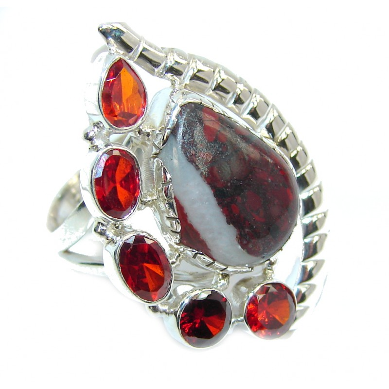 Simple Red Jasper Sterling Silver Ring s. 7 1/4