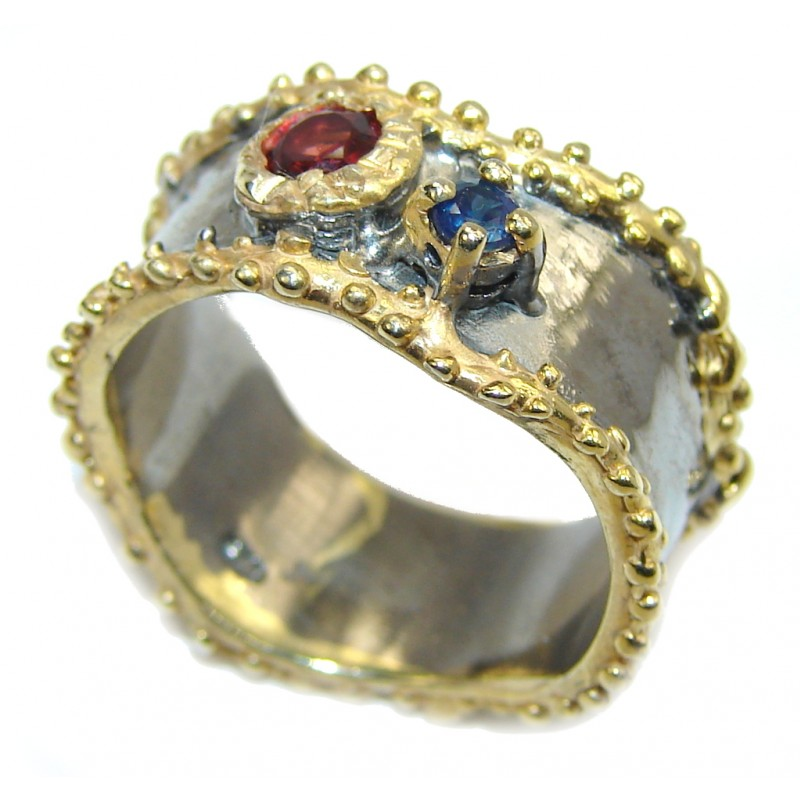 Delicate Beauty AAA Garnet, Gold Plated, Rhodium Plated Sterling Silver Ring s. 7