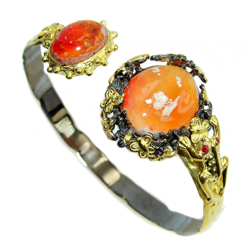 Bohemian Style Beautiful AAA Mexican Fire Opal Gold Rhodium plated Sterling Silver Bracelet / Cuff
