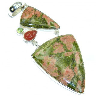 Green Exotic Russian Unakite Sterling Silver Pendant