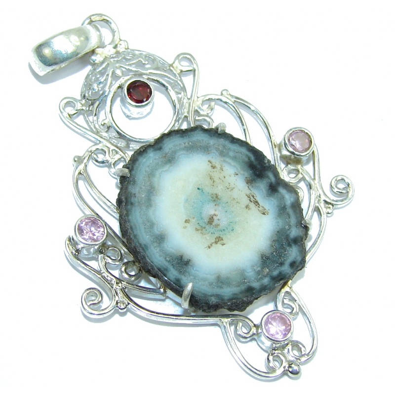 Classic Beauty Agate Druzy Sterling Silver Pendant
