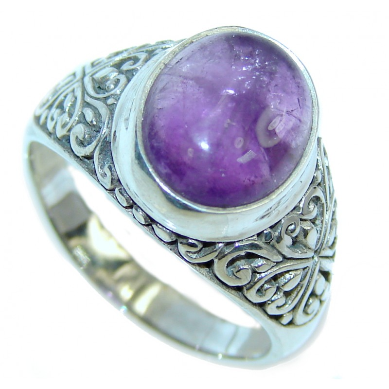 Delicate Purple Amethyst Sterling Silver Ring s. 9