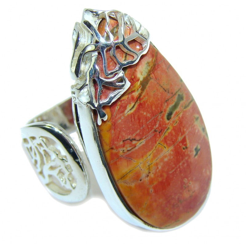 Perfect AAA Red Creek Jasper Sterling Silver Ring s. 8- adjustable