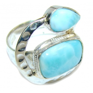 Amazing AAA Blue Larimar Sterling Silver Ring s. 8 1/2