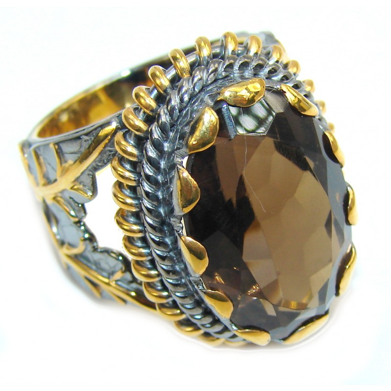Genuine Brown Smoky Topaz , Gold Plated, Rhodium Plated Sterling Silver ring s. 9