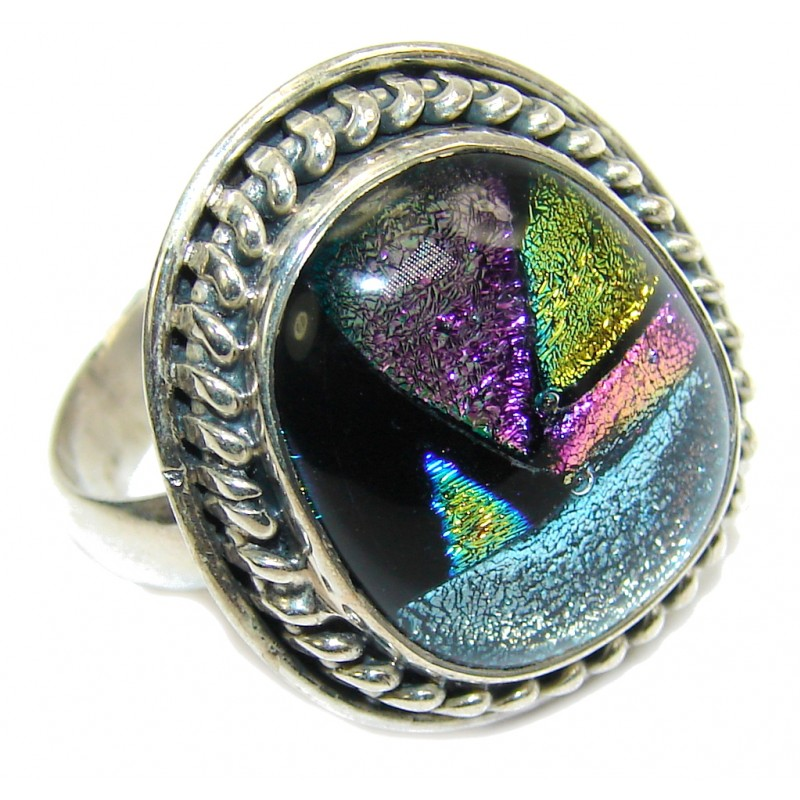 Mexican Dichroid Glass Sterling Silver Ring s. 9 1/2