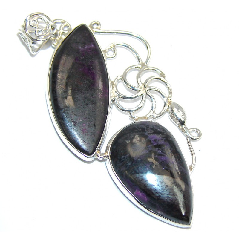 Simple Black Charoite Sterling Silver Pendant