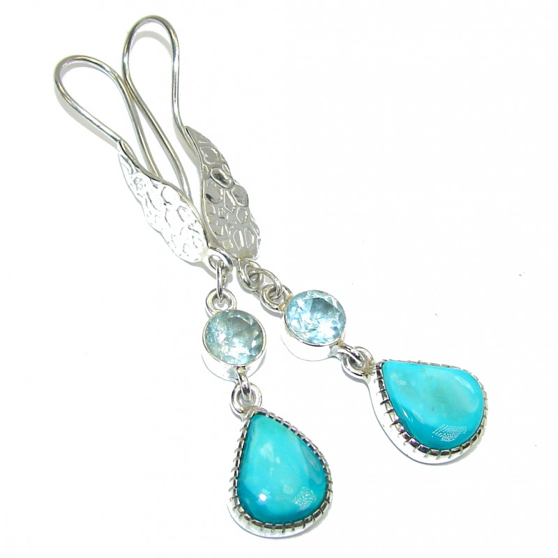 Secret! Sleeping Beauty Blue Turquoise & Swiss Blue Topaz Sterling Silver earrings / Long