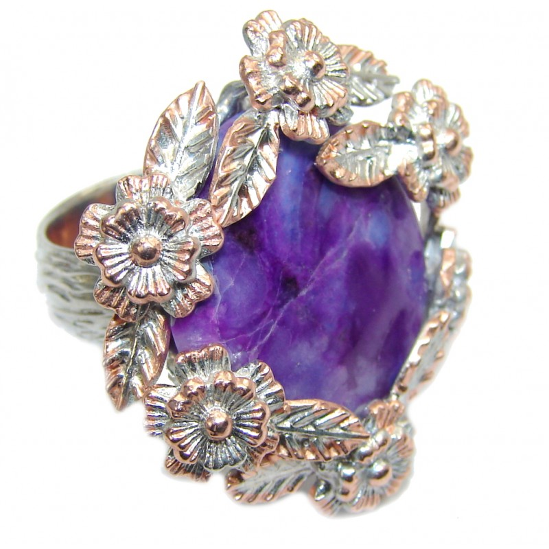 Exclusive AAA Purple Charoite & Amethyst, Rose Gold Plated Sterling Silver Ring s. 7