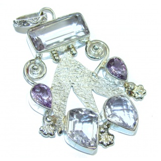Delicate Beauty AAA Purple Amethyst Sterling Silver Pendant