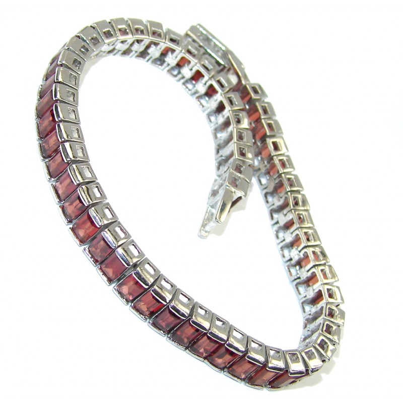 Perfection Red Cubic Zirconia Tennis Sterling Silver Bracelet
