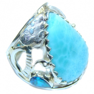 Perfect AAA Blue Larimar Sterling Silver Ring s. 7 1/4