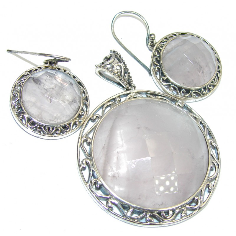 Amazing Rose Quartz Sterling Silver Pendant / Set