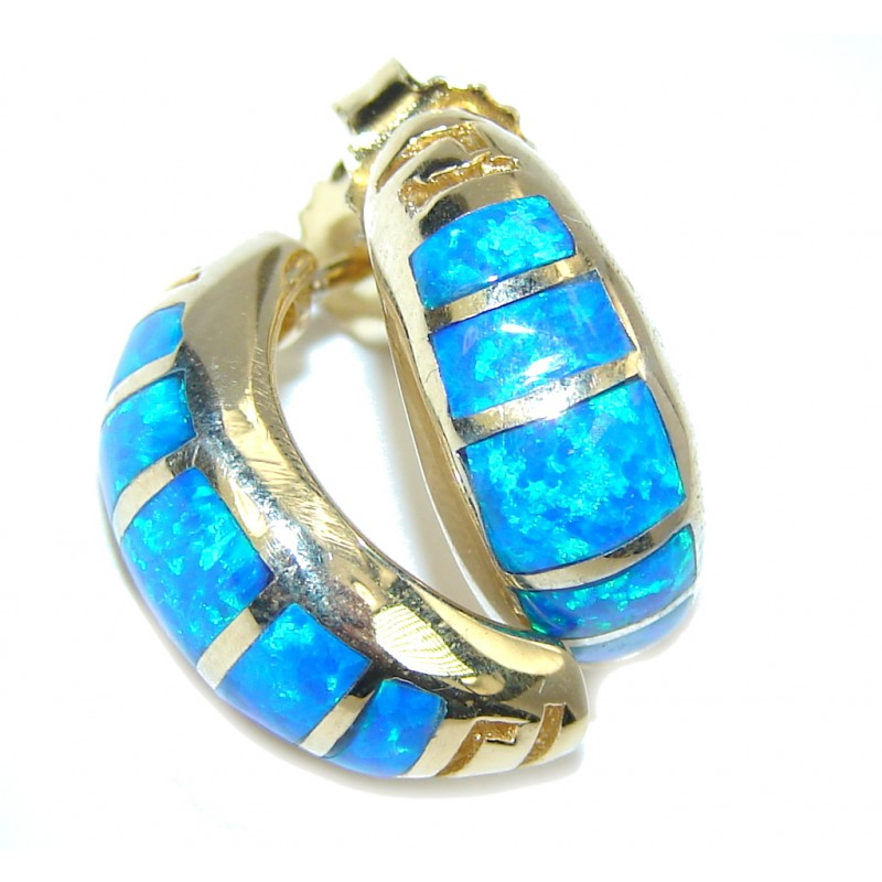 Perfect Blue Japanese Fire Opal, Gold Plated Sterling Silver earrings