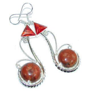 Excellent Brown Red Jasper Sterling Silver Earrings / Long