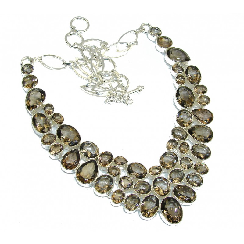 Beautiful Champagne Smoky Topaz Sterling Silver necklace