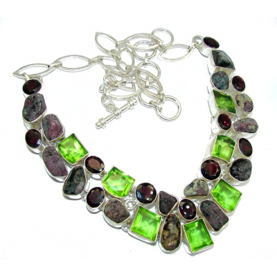 Fashion Beauty Rough Tourmaline & Garnet Sterling Silver Necklace