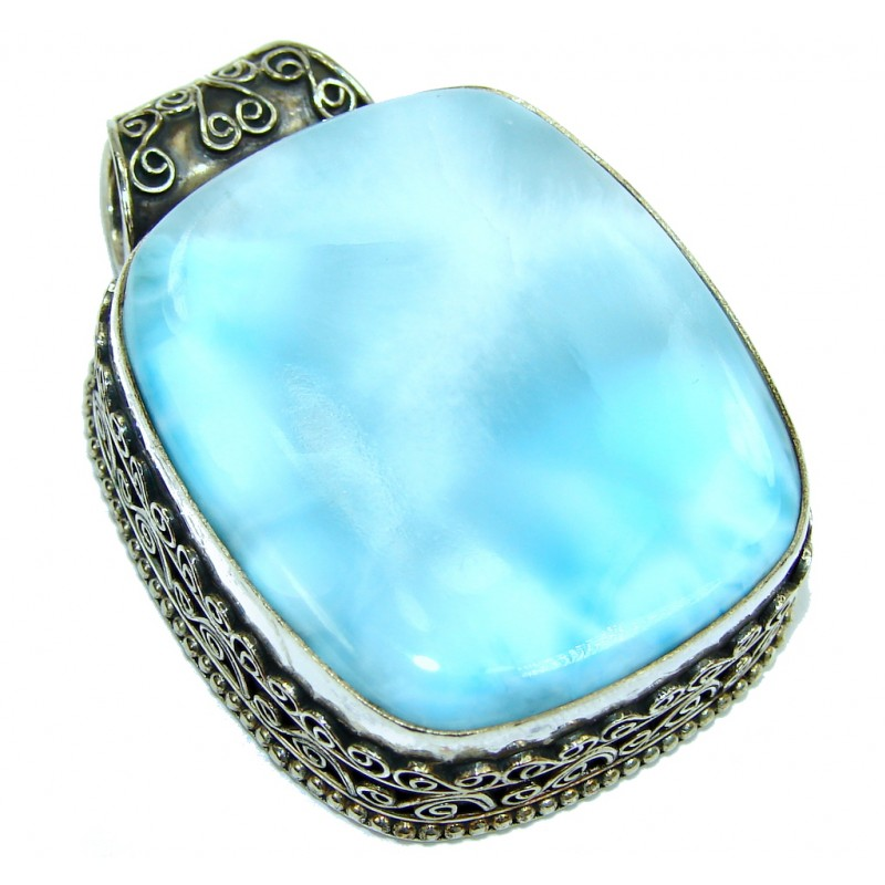 Big! Exotic Beauty AAA Blue Larimar Sterling Silver Pendant