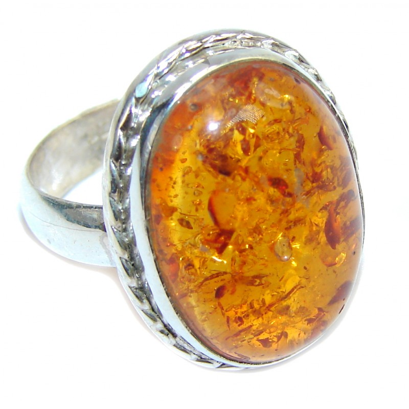 Simple Brown Copal Sterling Silver Ring s. 8
