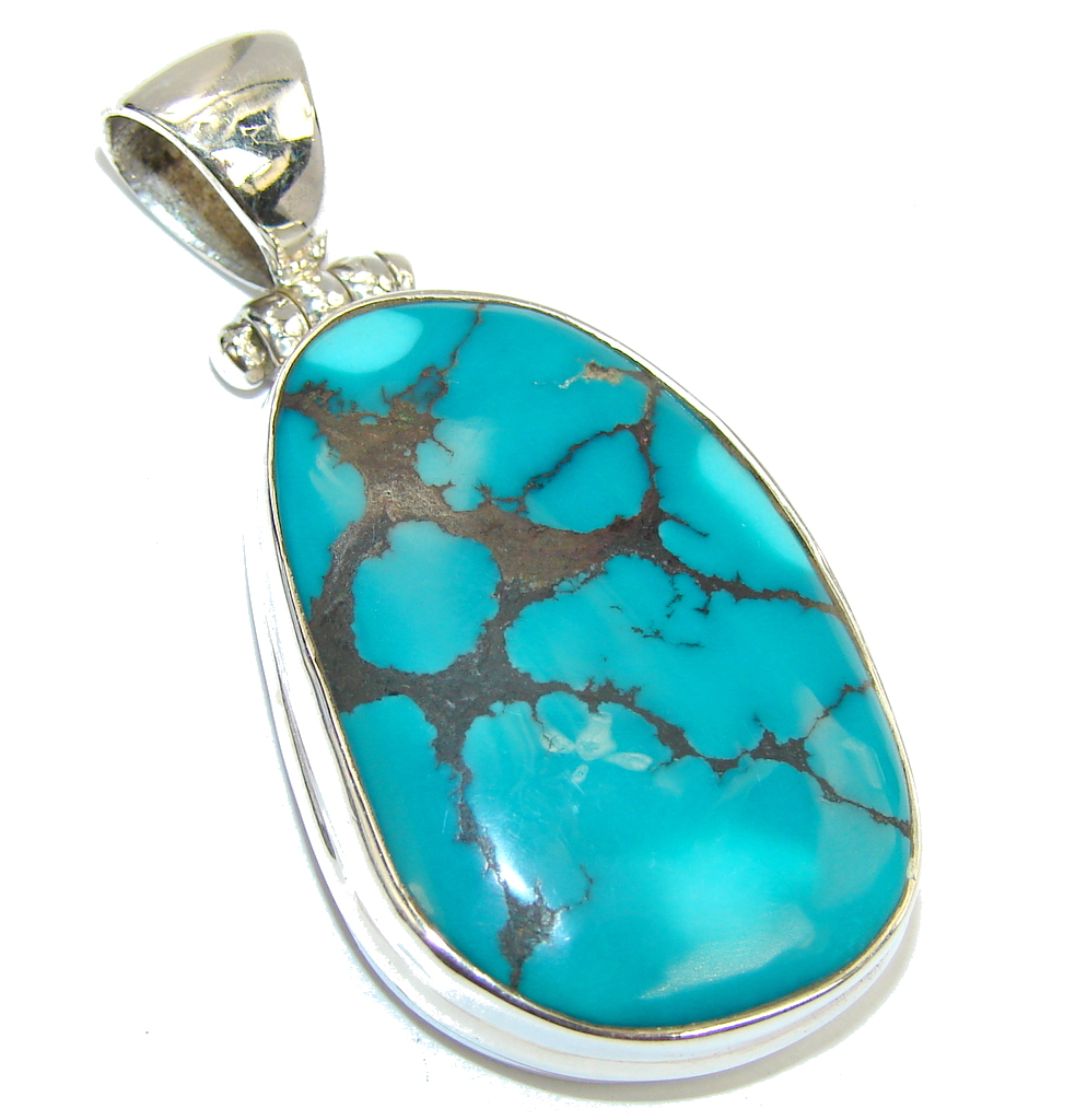 Aaa Black Spider Web Blue Turquoise Sterling Silver