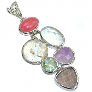 Big! Pale Beauty Pink Rhodochrosite Sterling Silver Pendant